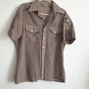 Vintage Wrangler Western Plaid Button Down Shirt M